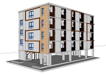 5-storey residential building, area 1,200 sq.m.